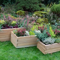 Rectangular Wooden Garden Planter Set of 3 - Durham