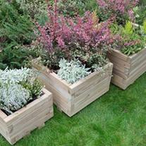 Square Wooden Garden Planter Set of 3 -Kendal