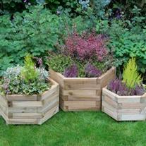 Hexagonal Wooden Garden Planter Set of 3 - York
