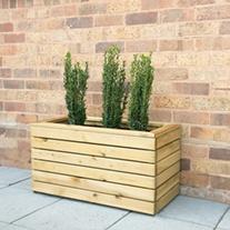 Linear Wooden Garden Planter Double