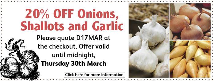 20% Onions Garlic and Shallots